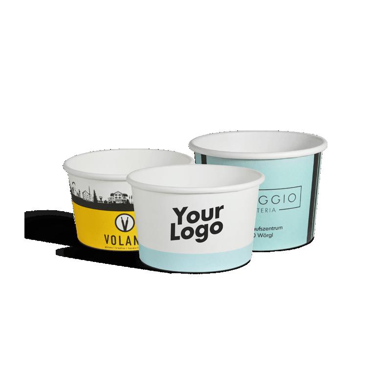 Pot à glace en carton imprimé de différentes tailles